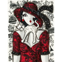 Chat sur robe rouge